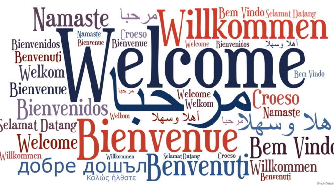 Welcome phrase in different languages. Words cloud concept. Multilingual in English, Arabic, Danish, French, Spanish, German, Greek, Hebrew, Italian, Russian, Welsh, Swedish, Polish, Malay, Indonesian, Zulu. This illustration is JPEG only.