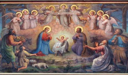 Vienna - Fresco of Nativity scene by Josef Kastner from 19. cent. in Carmelites church in Dobling.