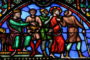 Jesus on Good Friday before Pontius Pilate, on a stained glass window in the cathedral of Brussels, Belgium. This window was created in the 19th Century. No property release is required.