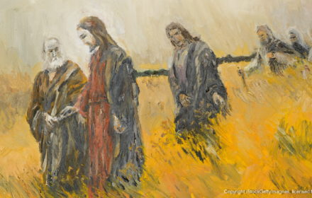 oil painting illustrating a religious scene, jesus christ and his disciples on a meadow