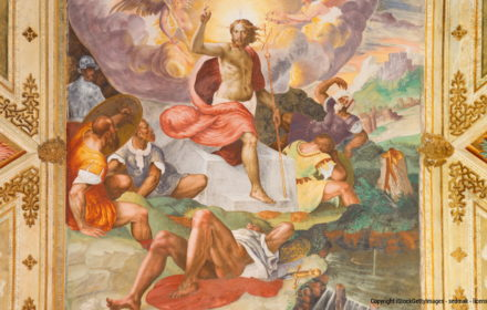 Cremona, Italy - May 24, 2016: Cremona - The Resurrection  fresco in the center of the vault in Chiesa di San Sigismondo by Giulio Campi (1564 - 1567)
