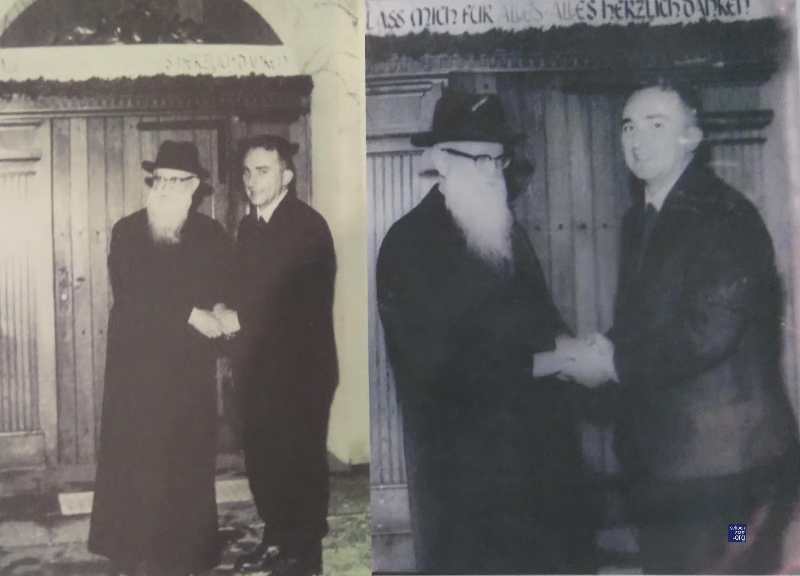 Las manos del Padre Kentenich y de Juan Fernández se estrechan.