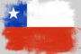 Flag of Chile painted with brush on solid background,