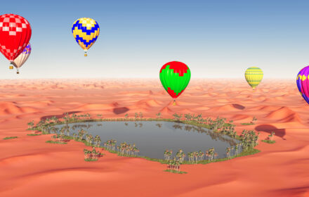 Computer generated 3D illustration with hot air balloons over a desert oasis
