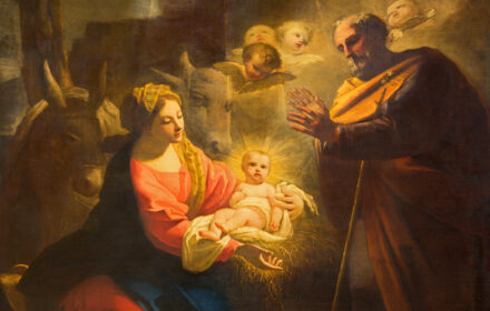 Turin - The detail of painting of Nativity in Duomo by Giovanni Comandu da Mondovi (1795).