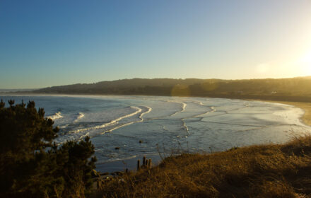 Pichilemu surf beach en Chile, panorama
