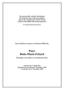 Nachruf - P. Bodo Erhardt
